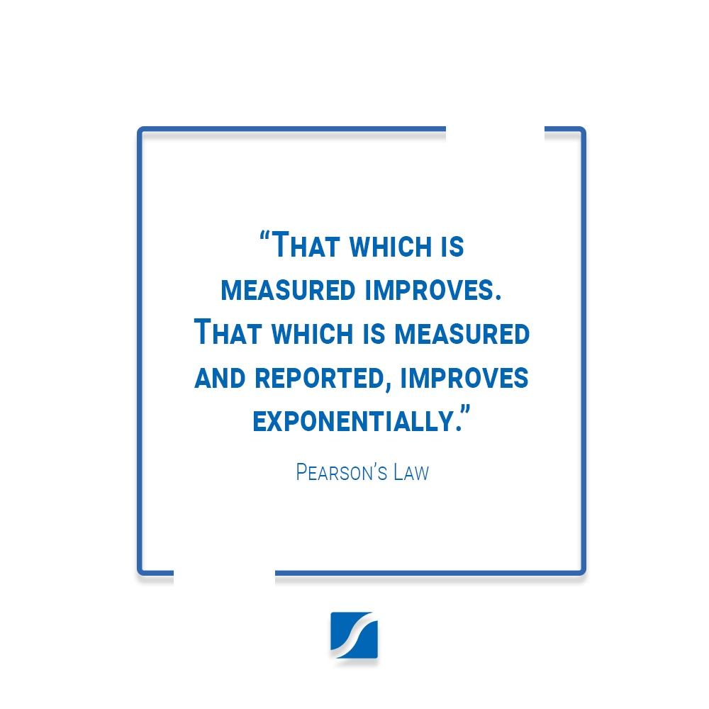 """""""That which is measured improves.  That which is measured and reported, improves exponentially.""""  - Pearson's Law"""