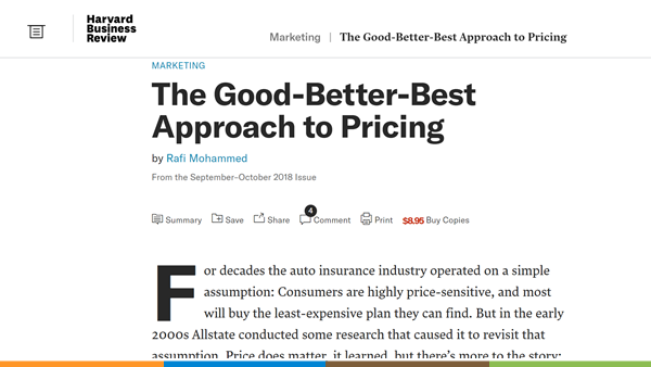 the good better best pricing approach